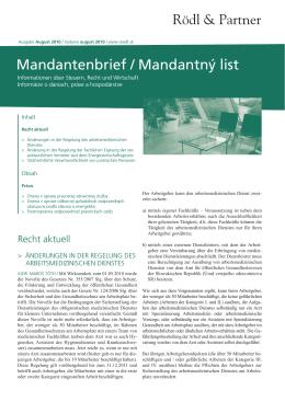 Mandantenbrief / Mandantný list