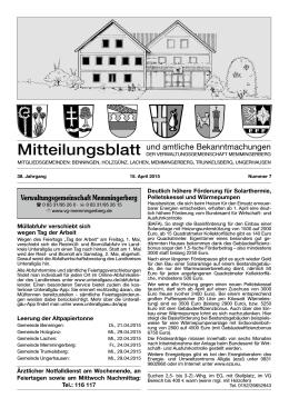 Mitteilungsblatt und amtliche Bekanntmachungen