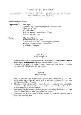 Zmluva o vytvorení diela - RUZIN