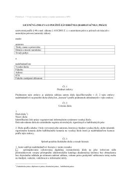 Vzor licenčnej zmluvy medzi autorom a SPU