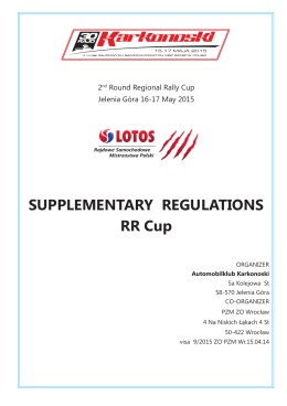 SUPPLEMENTARY REGULATIONS RR Cup