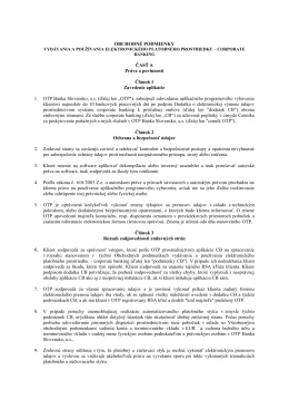 OBCHODNÉ PODMIENKY ČASŤ A Práva a povinnosti Článok 1