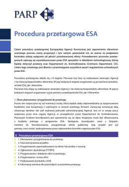 Procedura przetargowa ESA