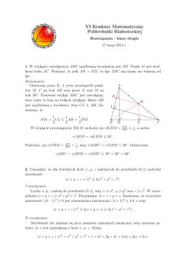 VI Konkurs Matematyczny Politechniki Białostockiej