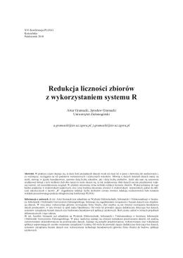 Redukcja liczności zbiorów z wykorzystaniem systemu R