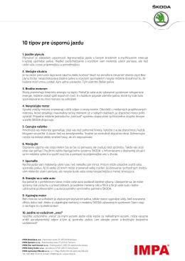 10 tipov pre úspornú jazdu