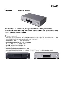 CD-P800NT Univerzálny CD prehrávač, ktorý vám tiež umožní