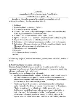 Zápisnica zo zasadnutia OZ zo dňa 9.4.2013