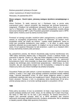 Page 1 Budowa gospodarki rynkowej w Europie Lekcje i wyzwania