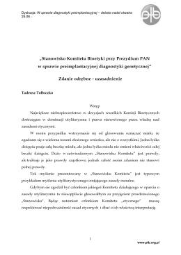 Zdanie odrębne Tadeusza Tołłoczki