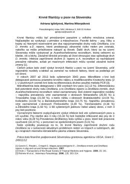 Krvné filariózy u psov na Slovensku