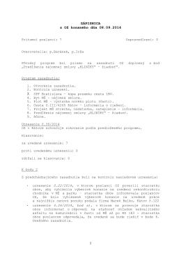 Zápisnica OZ zo dňa 8. 9. 2014