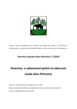 Smernica o vybavovaní petícií na obecnom úrade