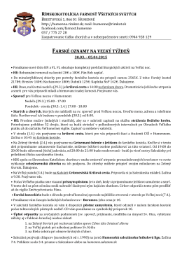 Farské oznamy - Rímskokatolícka farnosť Humenné