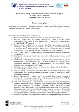Regulamin rekrutacji i warunki uczestnictwa w projekcie