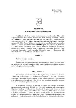18Co 109/2011- 8310213423 ROZSUDOK V MENE SLOVENSKEJ