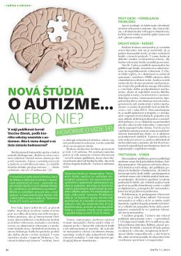Nová štúdia o autizme ...alebo nie?