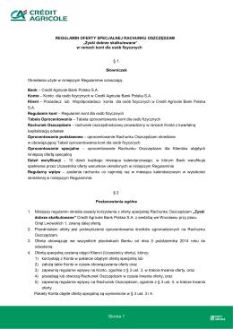 Regulamin oferty specjalnej Rachunku Oszczedzam Zyski Dobrze
