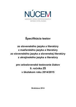 Špecifikácia testov z vyučovacích jazykov T9-2015