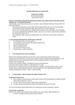 Písomná informácia pre používateľa PARALEN EXTRA filmom