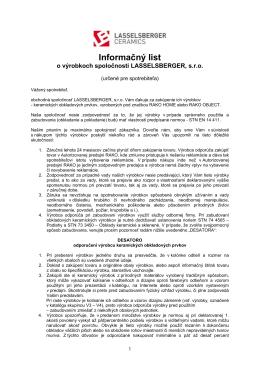 Informačný list o výrobkoch (pdf, 154 kB)