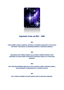 Anjelské čísla od 801 – 900