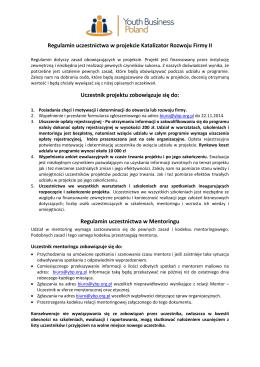 Regulamin uczestnictwa w projekcie i kodeks relacji mentoringowej