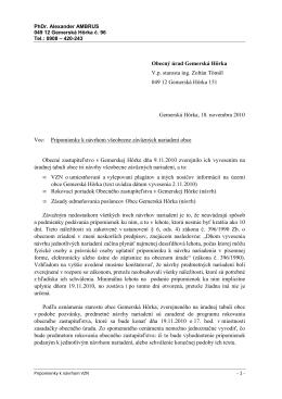 Pripomienky k nariadeniam obce Gemerská Hôrka