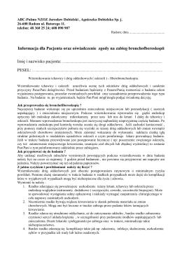 Informację dla Pacjenta oraz oświadczenie zgody na - abc