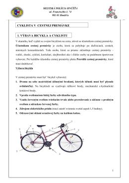 cyklista v cestnej premávke 1. výbava bicykla a cyklistu