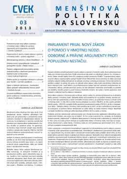 Mensinova politika na Slovensku 3/2013