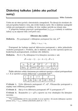 Diskrétný kalkulus (alebo ako počítať sumy)
