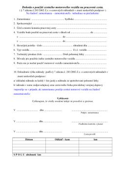 Dohoda o použití cestného motorového vozidla na