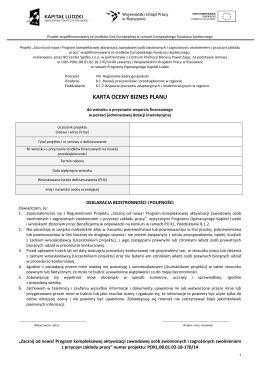 Karta Oceny Biznesplanu