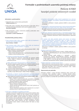 Formulár o podmienkach uzavretia poistnej zmluvy