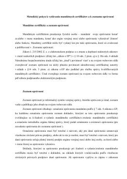 Metodický pokyn k zoznamu oprávnení pre mandátne certifikáty