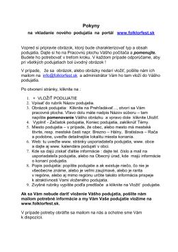 Manuál a pokyny - Folklorfest.sk