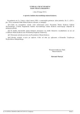 Regulamin budżetu obywatelskiego miasta Krakowa