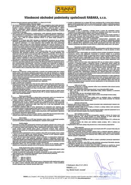 Všeobecné obchodné podmienky spoločnosti RABAKA, s.r.o.