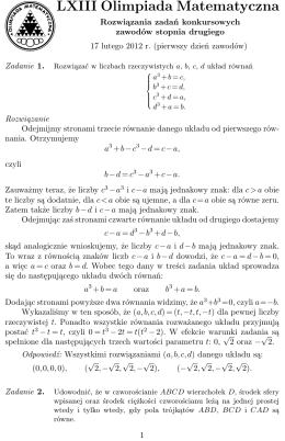 zadania z rozwiązaniami - Olimpiada Matematyczna