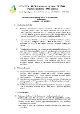 Kritéria 2014/15 - stredná odborná škola lesnícka v prešove