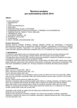 Národné športové predpisy pre slalomt 2014