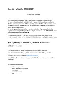 """Kalendár – """"ENVY for DEBRA 2015"""" Pred"""