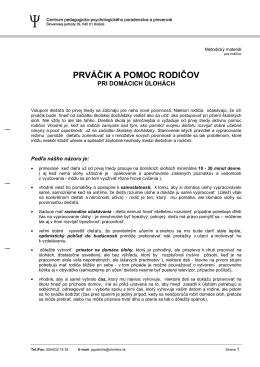 PRVÁČIK A POMOC RODIČOV - CPPPaP Košice