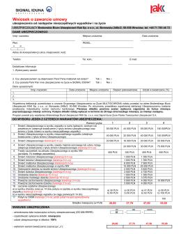 Wniosek o zawarcie umowy - Brokerskie Biuro Ubezpieczeń RAK