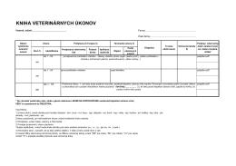 Kniha veterinárnych úkonov + Register
