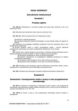 Kodeks Pracy stan na 28.07.2011 dział 9