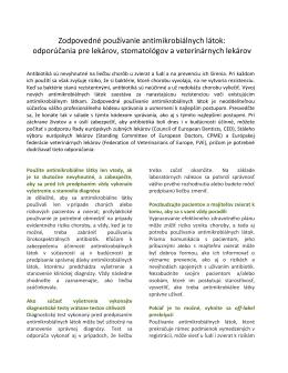 Zodpovedné používanie antimikrobiálnych látok