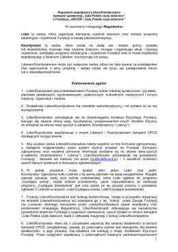 Regulamin Lidera / Koordynatora