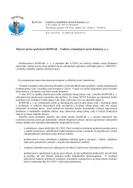 Tlačová správa spoločnosti KOMVaK - Vodárne a